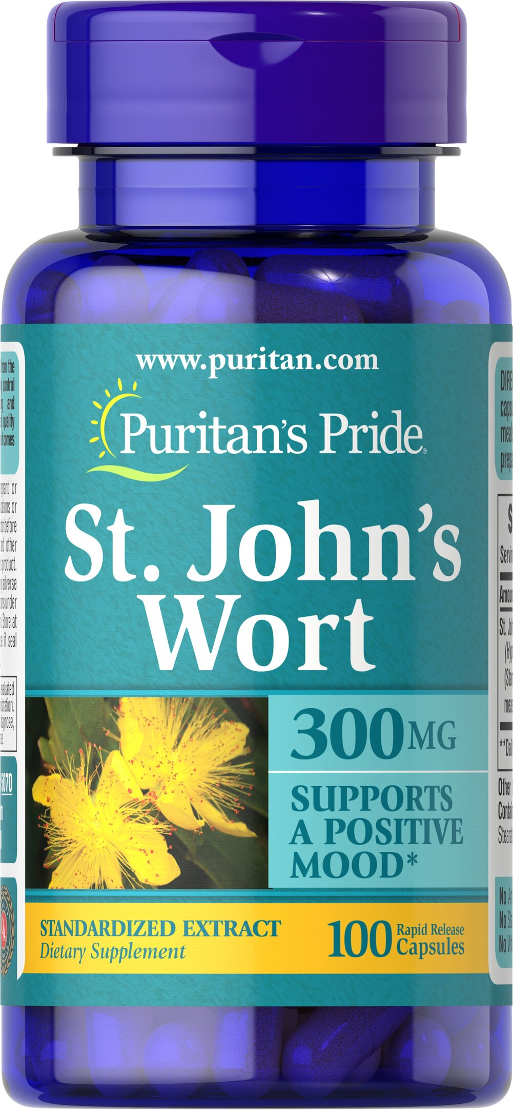 St. John's Wort Standardized Extract 300 mg <p>St. John's Wort has been used for centuries as a tonic and is clinically proven to promote mental well-being and peaceful mood.** At 900 milligrams per day, St. John's Wort can help maintain a positive mood and is perfect for anyone experiencing occasional anxiety and everyday stress.**</p> 100 Capsules 300 mg $10.48