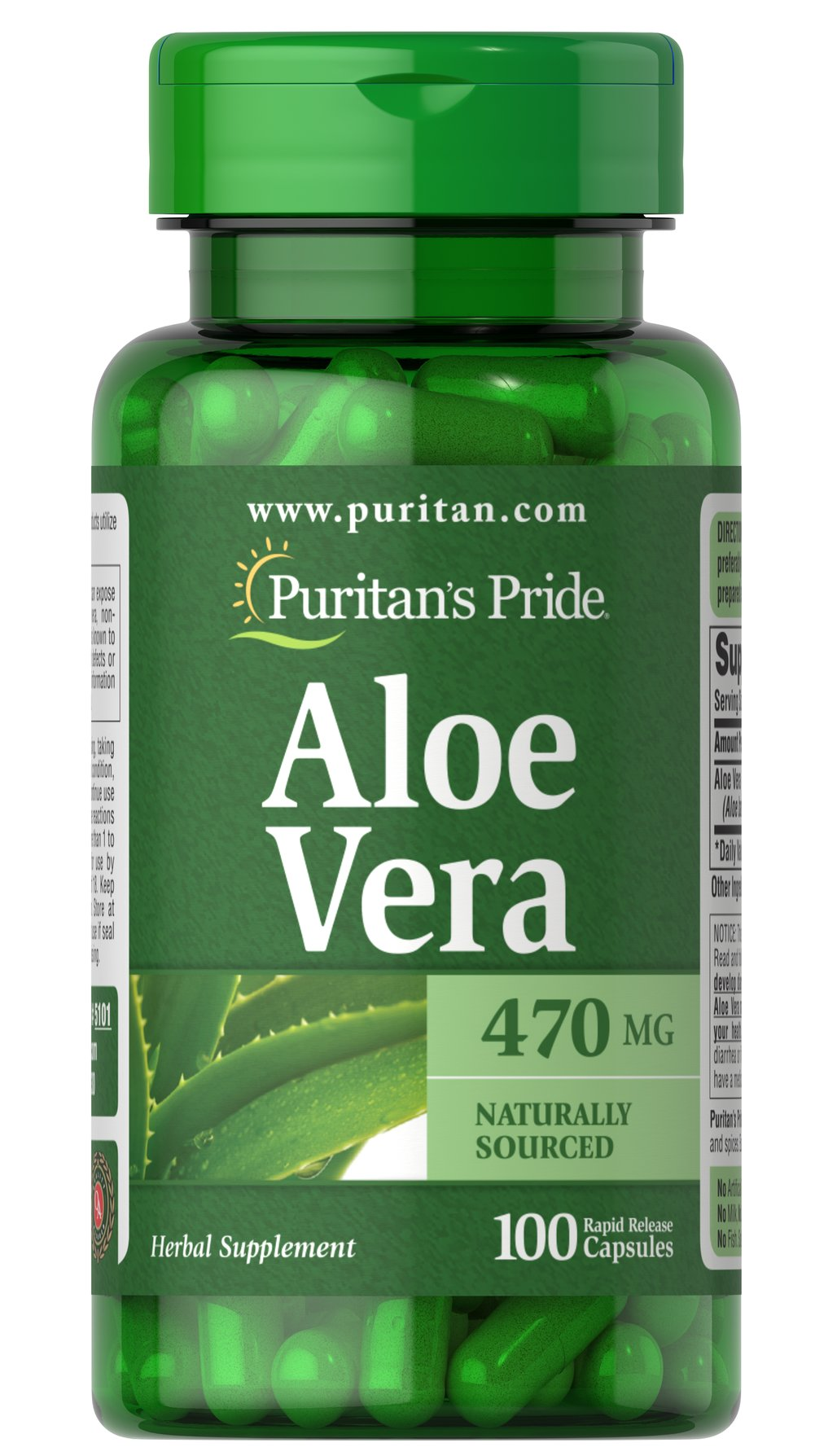 Aloe Vera 470 mg <p>Serves as an aid for healthy digestion**</p><p>Plays a role in the well-being of the body**</p><p>Convenience of capsules, softgels and liquids is unsurpassed</p><p>Has been used and trusted for centuries</p><p>Aloe Vera  has been shown to support a healthy digestive system.** Its popularity as a digestive aid makes it an excellent addition to your daily eating plan.**</p> 100 Capsules 470 mg $10.99