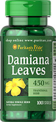 Damiana Leaves 450 mg <ul><li>Damiana Leaves (Turnera aphrodisiaca) is a natural whole herb.</li><li>Traditional herb of passion </li><li>Wild shrub found in Mexico, Central America, West Indies, South America </li><li>Naturally contains flavonoids and essential oils</li><li>Available in (450 mg) Whole Herb Capsules</li><li>Puritan's Pride's perservative-free gelatin capsules contain pure milled herb powder.</li&g