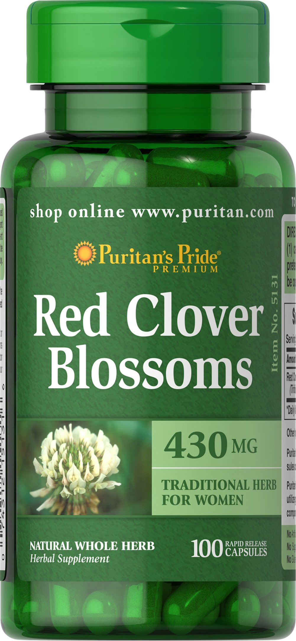 Red Clover Blossoms 430 mg <p>Red Clover is a natural source of plant nutrients that help promote well-being for women.** Red Clover Blossoms help support the physical changes which occur in a woman's body over time.**</p> 100 Capsules 430 mg $9.29