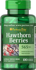 Hawthorn Berries 565 mg <p>Nineteenth century European physicians made the discoveries that hawthorn berries were beneficial to health and well-being.</p><p>Hawthorn preparations are derived from the flowers,leaves or berries of a thorny shrub (Crataegus oxyacantha) native to Europe.<br /><br />Puritan's Pride's Natural Whole Herb products utilize ground plant parts to provide the natural components found in nature.</p><p>Available in (565 mg) Whole Herb