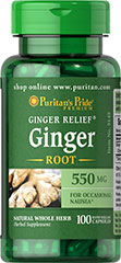 Ginger Root 550 mg <p>Supports Digestive Health**</p><p>Helps Alleviate Occasional Motion Sickness**</p><p>The active constituents in Ginger promote digestive health.** Ginger is also good for alleviating occasional motion sickness.** </p><p>Puritan's Pride's preservative-free gelatin capsules contain pure milled herb powder.</p><p>Puritan's Pride's Natural Whole Herb products utilize ground plant parts to provide the natural components found