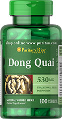 Dong Quai 530 mg <p>Dong Quai is often considered the female Ginseng and is a traditional herb for women.</p><ul><li>Puritan's Pride's preservative-free gelatin capsules contain pure milled herb powder.</li><li>Puritan's Pride's Natural Whole Herb products utilize ground plant parts to provide the natural components found in nature.</li></ul> 100 Capsules 530 mg $10.99