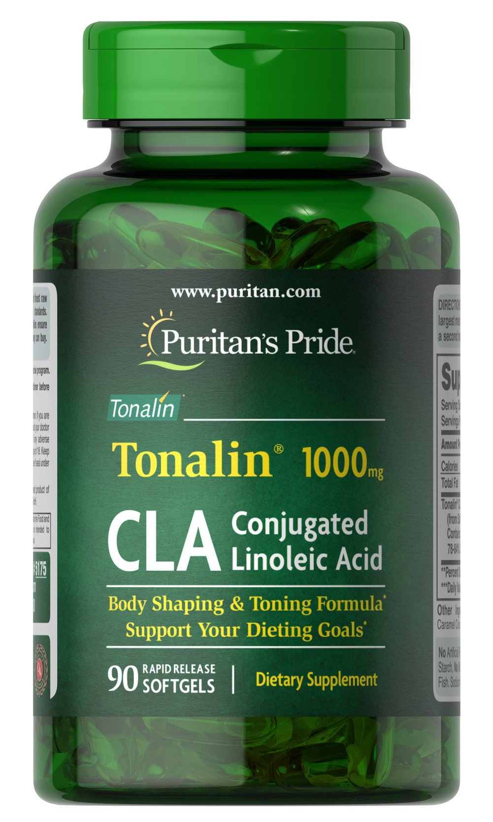 CLA 1000 mg Tonalin® <p>CLA (Conjugated Linoleic Acid) supports a healthy body composition**</p><p>Derived from Safflower Oil, CLA supports your dieting goals**</p><p>Rapid Release softgels are formulated for quick release into your system</p><p>Use with a reduced calorie diet and daily exercise program</p> 90 Softgels 1000 mg $30.99