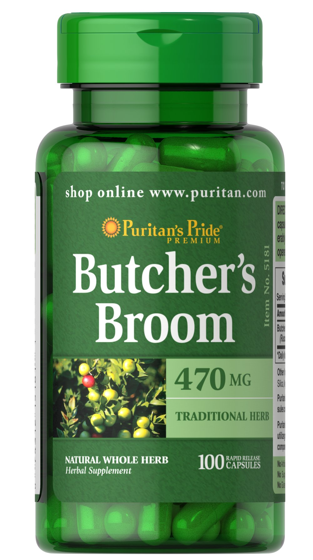 Butcher's Broom 470 mg <p>Butcher's Broom contains beneficial ruscogenins and flavonoids, two phytochemical substances that help support leg vein health.** Butcher's Broom has been used for decades to promote vein health, and studies indicate that Butcher's Broom helps relieve the itching, tingling and cramping caused by occasional discomfort occurring in the lower extremities, especially during mid-life.**</p><ul><li>Puritan's Pride preservative-free
