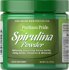 Spirulina Powder <p>Spirulina is a blue/green algae that can be found in the world's oceans and lakes.**</p><p>Our Spirulina's high quality 65% protein is thoroughly assimilated without the worry of cholesterol and fat that other protein sources may provide. Available in powder and tablets.</p> 4 oz Powder  $13.99