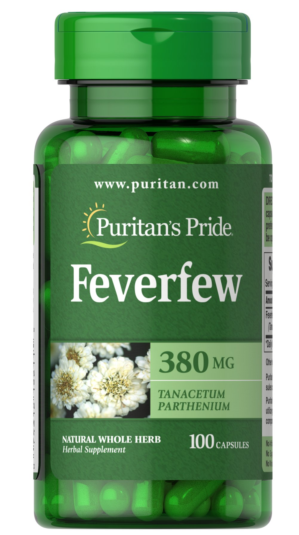 Feverfew 380 mg <p><br />Feverfew (Tanacetum parthenium) is traditionally<br />used by individuals with hectic lifestyles.**<br /><br />Puritan's Pride's preservative-free gelatin capsules<br />contain pure milled herb powder.<br /><br />Puritan's Pride's Natural Whole Herb products<br />utilize ground plant parts to provide the natural<br />components found in nature.</p> 100 Capsules 380 mg $9.29