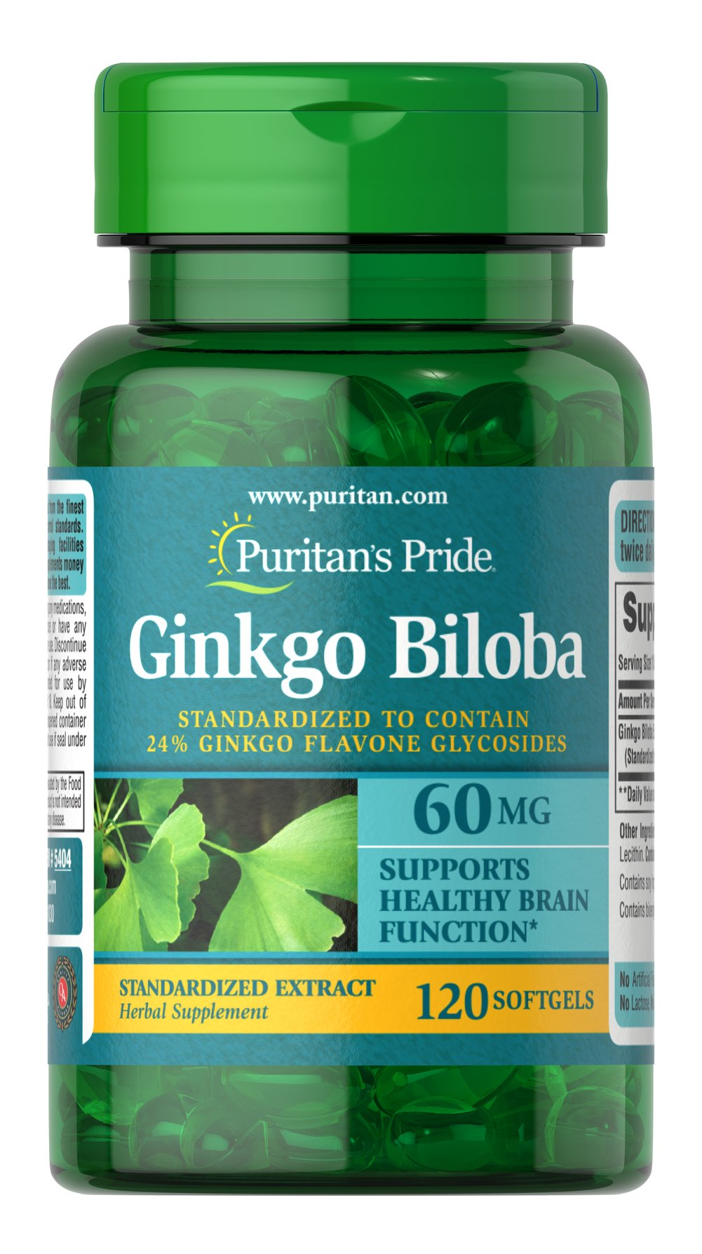 Ginkgo Biloba 60 mg <p>Scientific research documents the ability of Ginkgo to maintain peripheral circulation to the arms, legs and brain.** In addition, Ginkgo helps improve memory, especially occasional mild memory problems associated with aging.** Our Ginkgo Biloba consists of high-quality herbs standardized to contain 24% Ginkgo Flavone Glycosides</p> 120 Softgels 60 mg $10.99