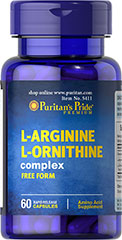 L-Arginine L-Ornithine 1000 mg / 500 mg <p>Puritan's Pride combines two of the body's most important building blocks into one easy-to-take supplement. Each two (2) capsules provide: L-Arginine (1,000 mg.), L-Ornithine (500 mg) and Chromium Picolinate (6.2 mcg).</p> 60 Capsules 1000 mg/500 mg $11.29
