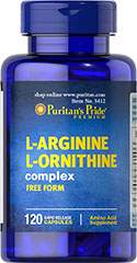 L-Arginine L-Ornithine 1000 mg / 500 mg <p>Puritan's Pride combines two of the body's most important building blocks into one easy-to-take supplement. Each two (2) capsules provide: L-Arginine (1,000 mg.), L-Ornithine (500 mg) and Chromium Picolinate (6.2 mcg).</p> 120 Capsules 1000 mg/500 mg $17.99