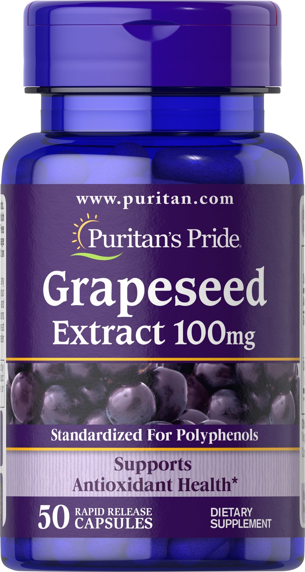 Grapeseed Extract 100 mg <p><strong>Grapeseed Extract</strong> helps maintain antioxidant health.** It contains oligomeric proanthocyanidins (OPCs), which are naturally occurring bioflavonoids. Free of yeast, wheat, sugar, preservatives, soy,  gluten, fish, artificial color, artificial flavor and sodium (less than 5 mg per serving). Standardized to contain 50% Polyphenols. Adults can take one capsule one or two times daily.</p> 50 Capsules 100 mg $6.64