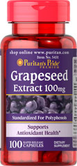 Grapeseed Extract 100 mg <p><strong>Grapeseed Extract</strong> helps maintain antioxidant health.** It contains oligomeric proanthocyanidins (OPCs), which are naturally occurring bioflavonoids. Free of yeast, wheat, sugar, preservatives, soy,  gluten, fish, artificial color, artificial flavor and sodium (less than 5 mg per serving). Standardized to contain 50% Polyphenols. Adults can take one capsule one or two times daily.</p> 100 Capsules 100 mg $18.99