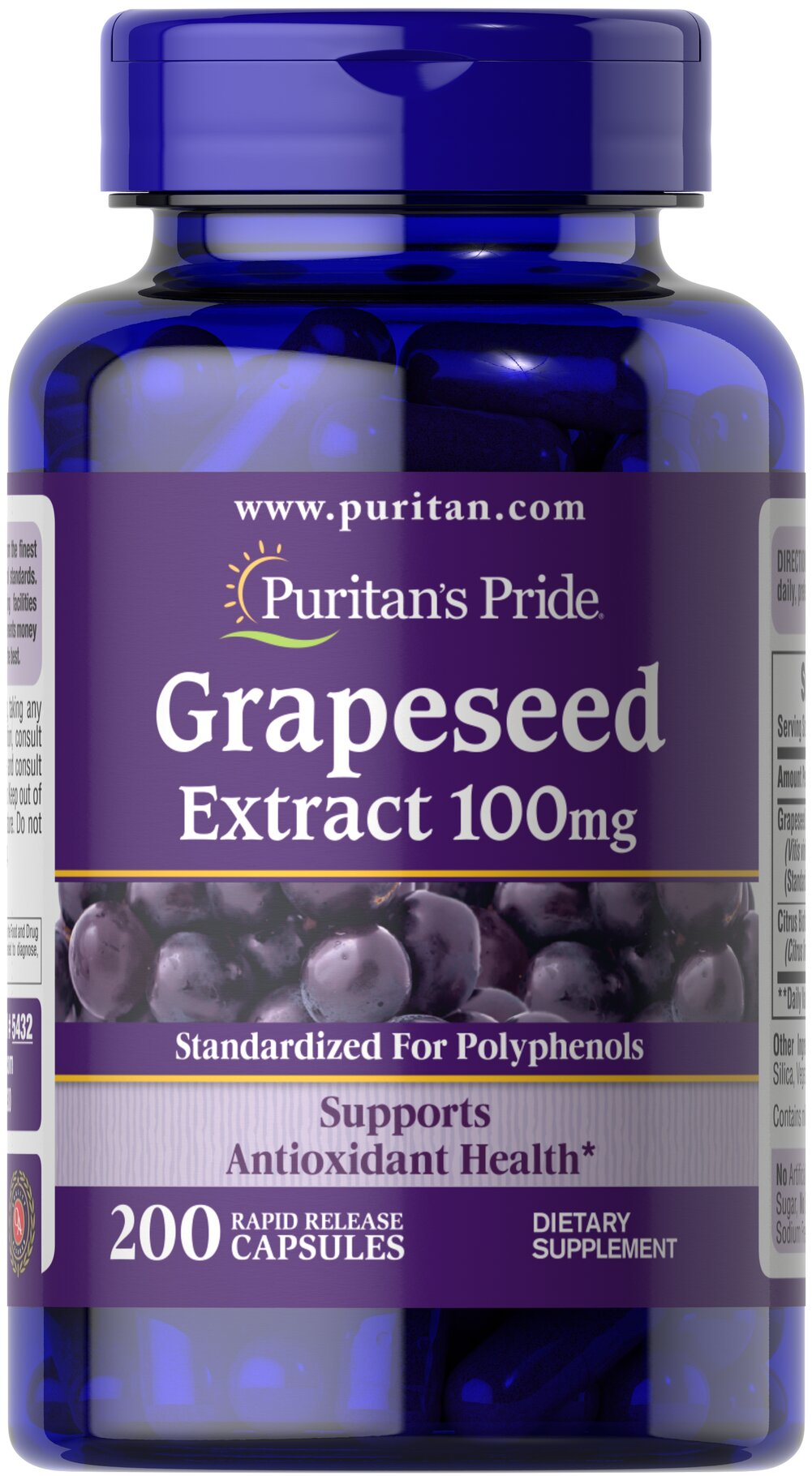 Grapeseed Extract 100 mg <p><strong>Grapeseed Extract</strong> helps maintain antioxidant health.** It contains oligomeric proanthocyanidins (OPCs), which are naturally occurring bioflavonoids. Free of yeast, wheat, sugar, preservatives, soy,  gluten, fish, artificial color, artificial flavor and sodium (less than 5 mg per serving). Standardized to contain 50% Polyphenols. Adults can take one capsule one or two times daily.</p> 200 Capsules 100 mg $22.74