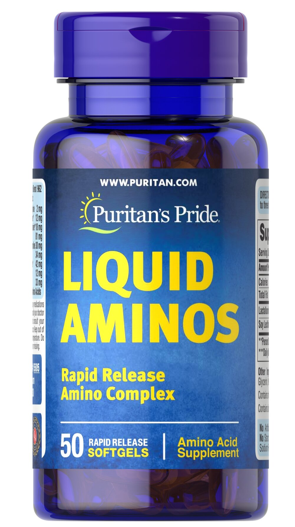 Liquid Aminos <p>Each Liquid Aminos softgel contains: L-Alanine (30 mg), L-Arginine (54 mg), L-Aspartic Acid (83 mg), L-Cysteine (10 mg), L-Glutamic Acid (145 mg), L-Glycine (33 mg),  L-Histidine (20 mg), L-Isoleucine (35 mg), L-Leucine (60 mg), L-Lysine (59 mg), L-Methionine (9 mg), L-Phenylalanine (41 mg), L-Proline (38 mg), L-Serine (39 mg), L-Threonine (32 mg), L-Tyrosine (22 mg), and L-Valine (33 mg)</p> 50 Softgels  $12.99