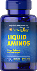 Liquid Aminos <p>Each Liquid Aminos softgel contains: L-Alanine (30 mg), L-Arginine (54 mg), L-Aspartic Acid (83 mg), L-Cysteine (10 mg), L-Glutamic Acid (145 mg), L-Glycine (33 mg),  L-Histidine (20 mg), L-Isoleucine (35 mg), L-Leucine (60 mg), L-Lysine (59 mg), L-Methionine (9 mg), L-Phenylalanine (41 mg), L-Proline (38 mg), L-Serine (39 mg), L-Threonine (32 mg), L-Tryptophan (7 mg), L-Tyrosine (22 mg), and L-Valine (33 mg)</p> 100 Softgels  $22.59