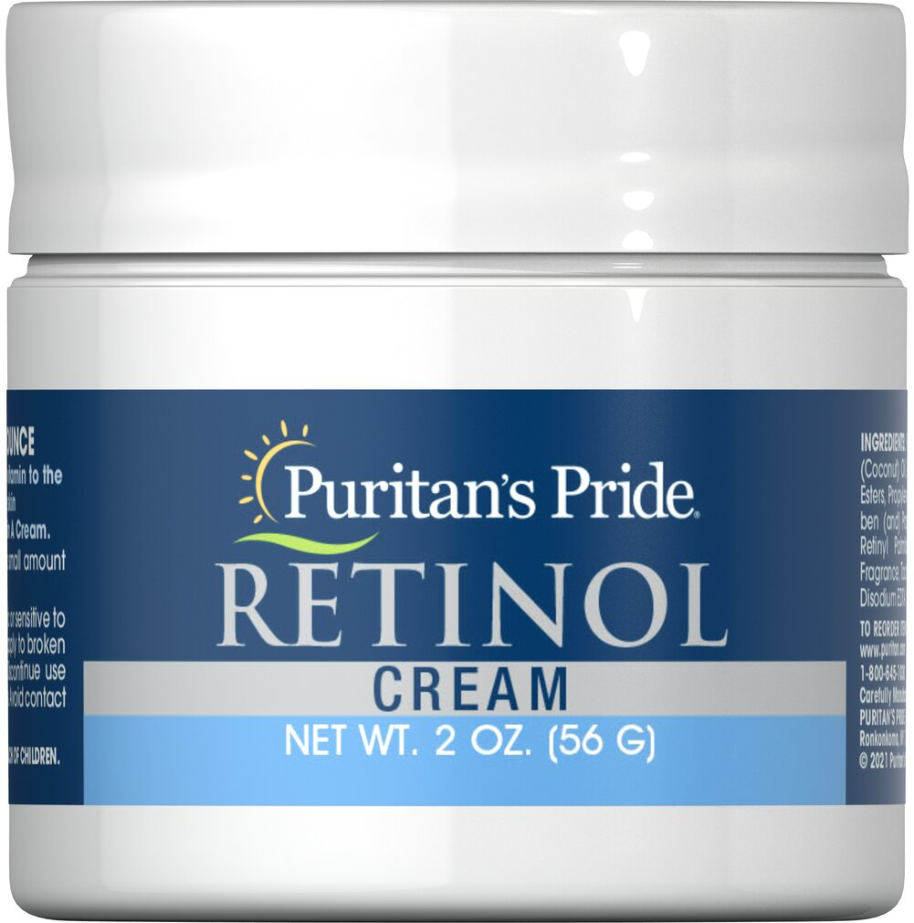 Retinol Cream (Vitamin A 100,000 IU Per Ounce) <p></p>Vitamin A is important to the appearance of your skin. Our retinol cream contains 100,000 IU of vitamin A per ounce. Simply apply to your face and enjoy smooth, hydrated skin. Retinol Cream provides you with the nourishing benefits of Vitamin A. Combined with natural protective moisturizers, this cream helps to keep your skin soft, smooth and young looking.<p></p> 2 oz Cream 100000 IU $10.79
