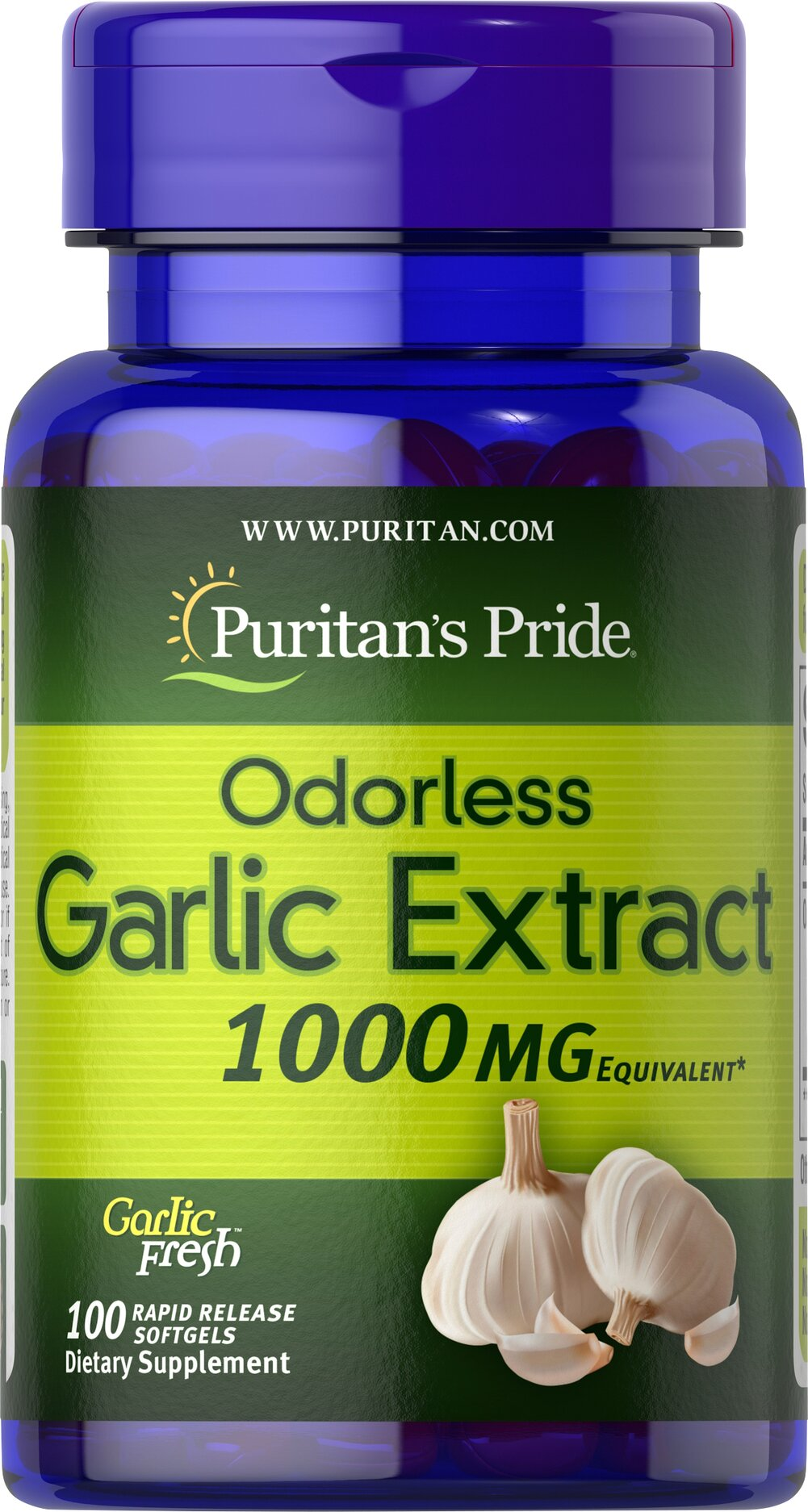 Odorless Garlic 1000 mg <p>Supports healthy cholesterol levels**</p><p>Provides antioxidant support for the heart**</p><p>Helps maintain healthy circulation**</p><p>Garlic promotes heart and cardiovascular health and helps maintain cholesterol levels that are already within the normal range.** Our specialized cold processing method preserves the natural goodness while reducing the odor.</p> 100 Softgels 1000 mg $9.29