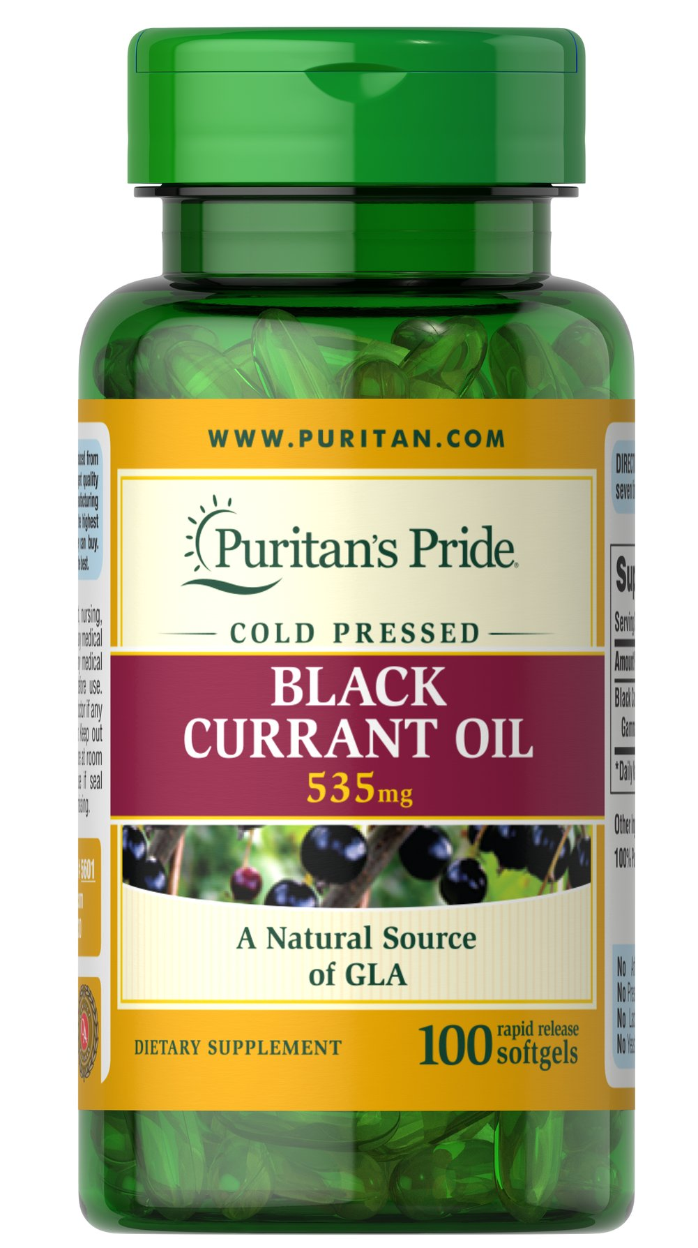 Black Currant Oil 535 mg <p>Black Currant Oil—which comes from the small black berries of the Black Currant shrub—is a natural source of GLA, which has been shown to help promote feminine wellness and provide nutritional support for woman experiencing PMS.** Each softgel contains 535 mg of Black Currant Oil and provides 80 mg of GLA.</p> 100 Softgels 535 mg $18.99