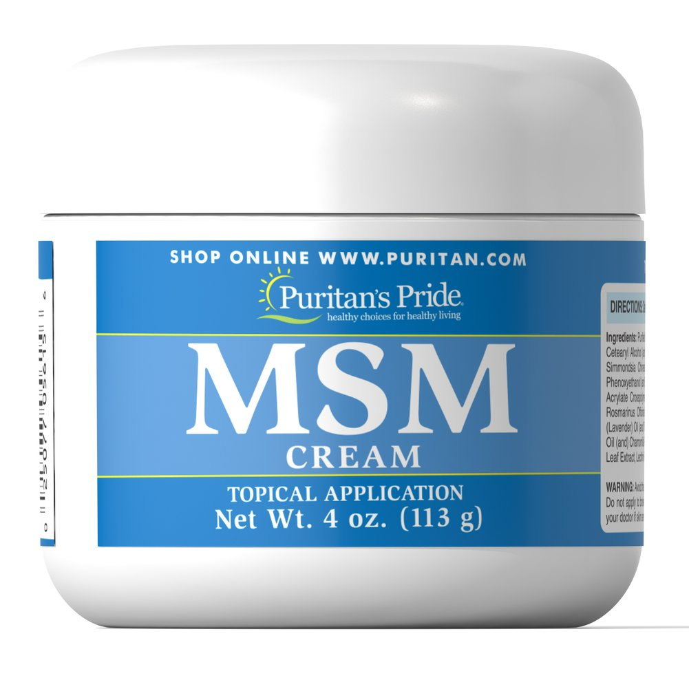 MSM Cream <p>MSM (Methylsulfonylmethane) is a source of naturally-occurring sulfur.  This popular dietary supplement has now been formulated into a nutrient-enriched, moisturizing cream.  We've blended soothing emollients, such as jojoba oil and sweet almond oil with collagen, aloe vera, and the antioxidant vitamins E, A and D.  This combination of beneficial vitamins, oils and herbs work together to soften, smooth and moisturize the skin.</p> 4 oz Cream  $14.39
