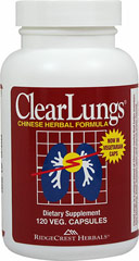 Clearlungs™ <p><strong>From the Manufacturer's Label: </strong></p><p>ClearLungs™ is a unique Chinese herbal formula designed to provide nutrients to the lungs.  Each ingredient plays a special role in providing nutritional support.</p><p>Each capsule contains Hoelen, Dong Quai, Ophiopogon, Scute, Platycodon, Citrus Morus Root, Fritillary, Asparagus, Almonds, Gardenia, Shizandra, and Licorice. Not for sale to persons under eighteen years of age.</