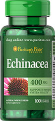 Echinacea 400 mg Used by Native Americans, Echinacea is a centuries-old way to support immune system health.** As an herbal supplement, Echinacea is especially popular during times of seasonal change.<p></p><p>This product comes in capsule form, but Echinacea is also available as a liquid extract, in combination with Goldenseal, as tablets in combination with Vitamin C and Rose Hips, or in a liquid formula specially designed for juniors.</p><p>Puritan's Pride&#3