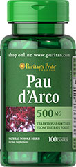 Pau D'Arco 500 mg <p>Pau d'Arco hails from the inner bark of the tall, flowering tree Tabebuia impetiginosa, and is native to the exotic rain forests of South America. In supplement form, Pau d'Arco is known for its holistic goodness and is traditionally used to support the body's internal balance.** These capsules are free of sugar and preservatives.</p><p><br />Puritan's Pride's preservative-free gelatin capsules contain pure milled herb powder.<br /><br /&