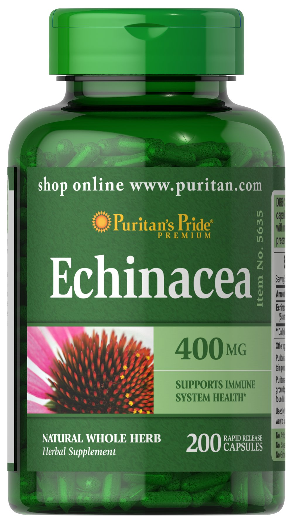 Echinacea 400 mg Used by Native Americans, Echinacea is a centuries-old way to support immune system health.** As an herbal supplement, Echinacea is especially popular during times of seasonal change.</p><p>This product comes in capsule form, but Echinacea is also available as a liquid extract, in combination with Goldenseal, as tablets in combination with Vitamin C and Rose Hips, or in a liquid formula specially designed for juniors.</p> 200 Capsules 400 mg $9.49