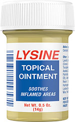 Lysine Topical Ointment <p>This soothing topical ointment heals while it soothes inflamed areas.</p>   0.5 oz Ointment  $7.99