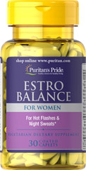 Estro Balance <p>Estro Balance has been created to help support the natural changes that occur in a woman's body over time.** This special formulation provides you with the natural phytonutrients found in soy and black cohosh. Estro Balance also provides you with important vitamins and minerals, including Vitamin E, Folic Acid and Calcium.**</p> 30 Caplets  $16.99