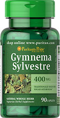 Gymnema Sylvestre 400 mg <p>Traditionally used for Sugar Metabolism**</p><p>Gymnema Sylvestre, an ancient Ayurvedic herb, has been used in India for more than 2000 years as a healthy and nutritious supplement. Gymnema Sylvestre supports carbohydrate metabolism.** Available in (400 mg) tablets.</p><p>We only use the finest quality herbs and spices.  Each is screened and finely milled for quick release.</p><p>Puritan's Pride's Natural Whole Herb p