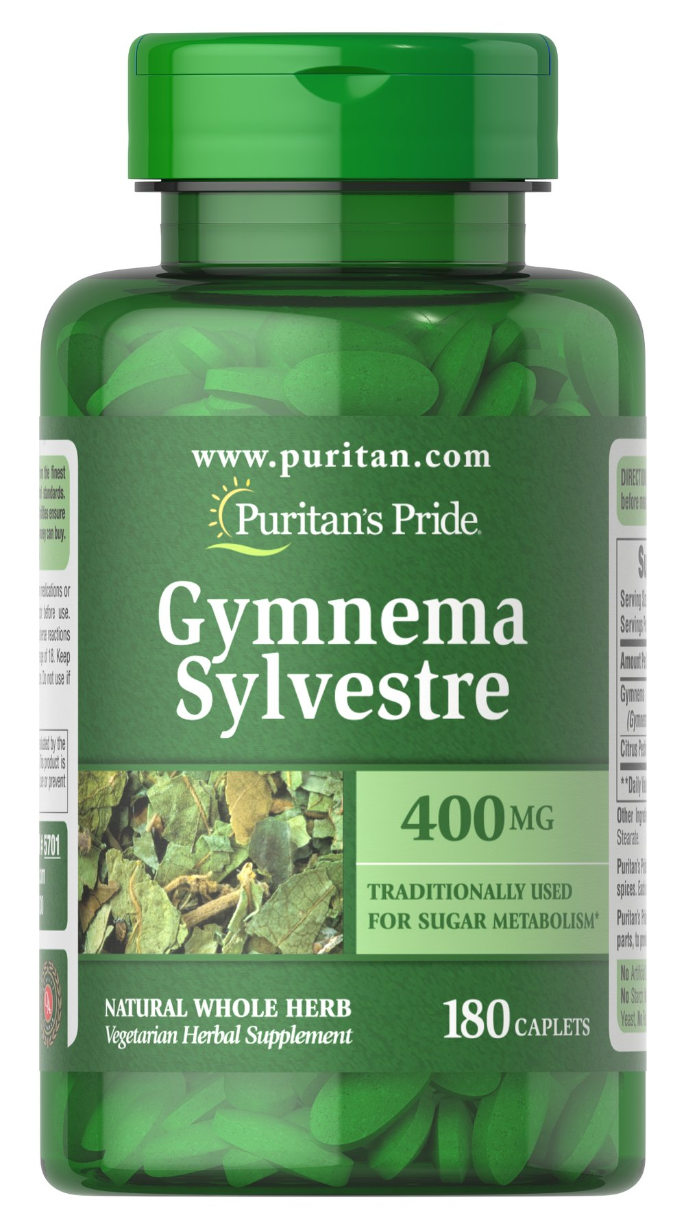 Gymnema Sylvestre 400 mg <p>Traditionally used for Sugar Metabolism**</p><p>Gymnema Sylvestre, an  ancient Ayurvedic herb, has been used in India for more than 2000 years  as a healthy and nutritious supplement. Gymnema Sylvestre supports  carbohydrate metabolism.** Available in (400 mg) tablets.</p><p>We only use the finest quality herbs and spices.  Each is screened and finely milled for quick release.</p><p>Puritan's Pride's Natural Whole Her