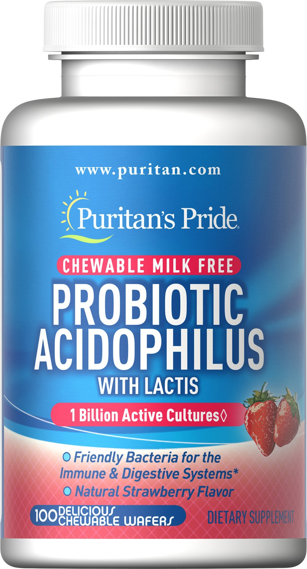 Probiotic Acidophilus Chewables Strawberry </p><p>Nutritionally supports healthy digestion**</p>  <p>Promotes a healthy intestinal balance**</p><p>One billion Organisms at time of manufacture. 100 Chewables  $11.99