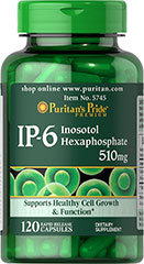 IP-6 Inositol Hexaphosphate 510 mg <p>Inositol Hexaphosphate is a naturally occurring ingredient found in oats, wheat, rice, corn and legumes.  It may inhibit lipid peroxidation and fights the body's production of free radicals.</p><p>Our Inositol Hexaphosphate capsules are derived from the bran portion of brown rice.  Two capsules provide (1020 mg) of Inositol Hexaphosphate.</p> 120 Capsules 510 mg $12.99
