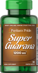 Guarana 1200 mg <p>A natural food supplement made from the famous Brazilian Herb. Puritan's Pride Guarana is made from the finest quality sources available. This product is 100% natural. Guarana contains the phytochemical caffeine, and has traditionally been used as a refresher.**</p> 90 Caplets 1200 mg $12.99