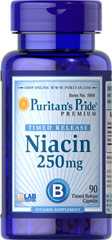 Niacin 250 mg Timed Release <p> Supports Energy Metabolism and Nervous System Health**</p><p>Laboratory Tested</p> <p>Niacin is a B-Vitamin, which is part of a coenzyme needed for energy metabolism.** Niacin helps maintain healthy functions of the nervous system and skin.** This product is formulated to release Niacin over a prolonged period of time.</p> 90 Capsules 250 mg $8.99