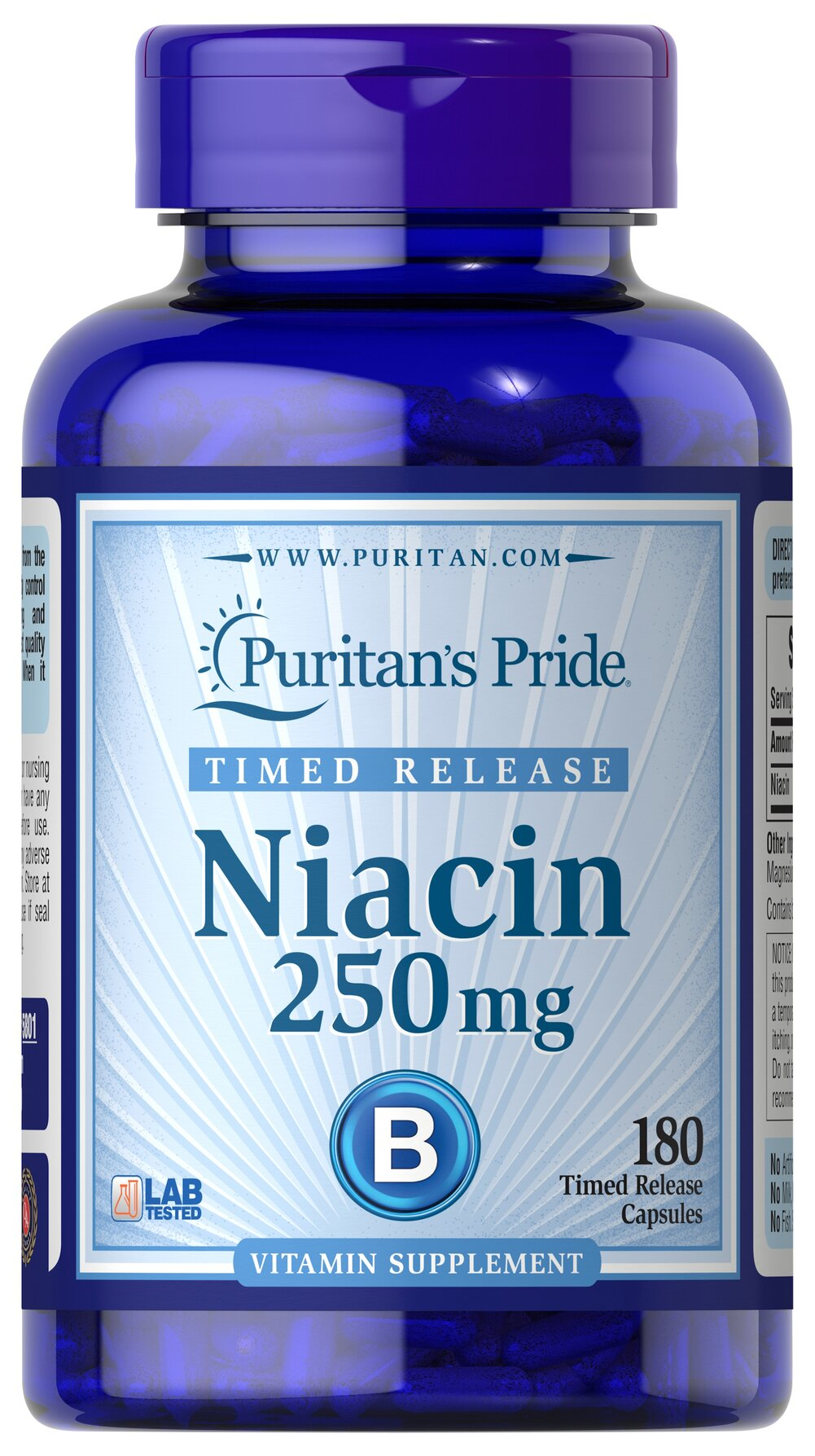 Niacin 250 mg Timed Release <p>Supports Energy Metabolism and Nervous System Health**</p><p>Laboratory Tested</p><p>Niacin is a B-Vitamin, which is part of a coenzyme needed for energy metabolism.** Niacin helps maintain healthy functions of the nervous system and skin.** This product is formulated to release Niacin over a prolonged period of time.</p> 180 Timed Release Capsules 250 mg $18.99