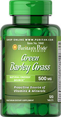 Green Barley Grass 500 mg <p>Puritan's Pride introduces low temperature dried Green Barley Grass.  Green Barley Grass is a rich source of vitamins, minerals, enzymes, chlorophyll and protein.  As a whole leaf product, it also provides twice the fiber of bran. </p> 120 Tablets 500 mg $9.99