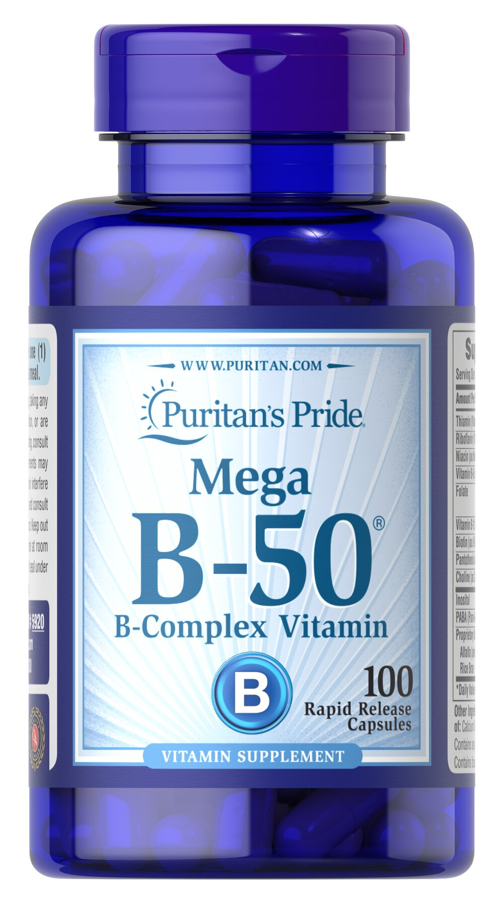 Vitamin B-50® Complex <p>The Vitamin B-50® Complex is made up of several vitamins that work well together to support nervous system health.** B Complex vitamins also promote energy metabolism.** Each nutrient in the Vitamin B Complex performs a unique role in maintaining proper metabolic functioning and is essential for well being.**</p> 100 Capsules 50 mg $12.78