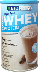 100% Sugar Free Whey Protein Chocolate <p>From the Manufacturer:</p><p>Our Sugar Free Whey is made with no sugar, and is only sweetened with a high quality Reblana drived from Stevia Leaf Extract.  Sugar Free Whey cuts the calories down to 100 calories per serving while still maintaining a sweet, delicious taste. Biochem 100% Sugar Free Whey is undenatured and made by using a cold-process, chemical-free micro-filtration/ultra-filtration method that removes most of the