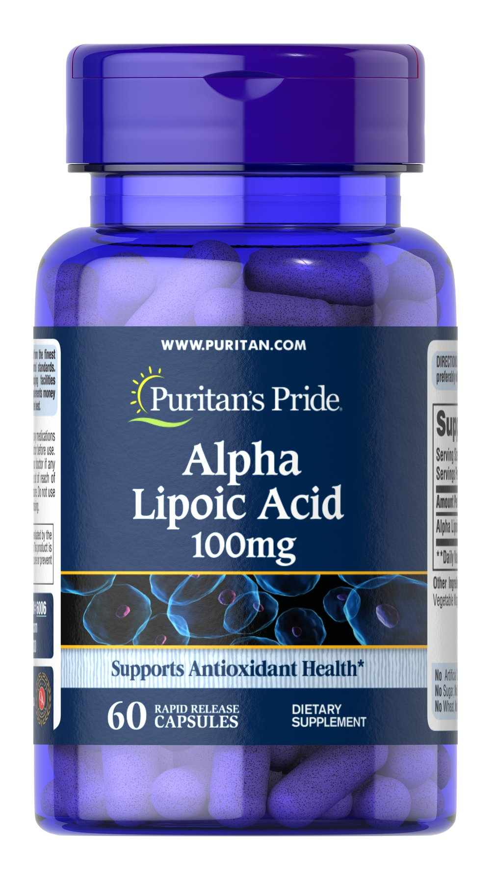 "Alpha Lipoic Acid 100 mg <p>Alpha Lipoic Acid (ALA) helps metabolize sugar, especially in muscles, where it promotes energy.**</p><p>ALA is also beneficial for liver health, and helps to revitalize the underlying structure of the skin so it can look healthier and more radiant.**</p><p>ALA is often called the ""universal antioxidant"" for its ability to help neutralize cell-damaging free radicals.** </p> 60 Capsules 100 mg $7.19"