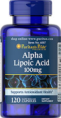 "Alpha Lipoic Acid 100 mg <p>Alpha Lipoic Acid (ALA) helps metabolize sugar, especially in muscles, where it promotes energy.**</p><p>ALA is also beneficial for liver health, and helps to revitalize the underlying structure of the skin so it can look healthier and more radiant.**</p><p> ALA is often called the ""universal antioxidant"" for its ability to help neutralize cell-damaging free radicals.** </p> 120 Capsules 100 mg $15.99"
