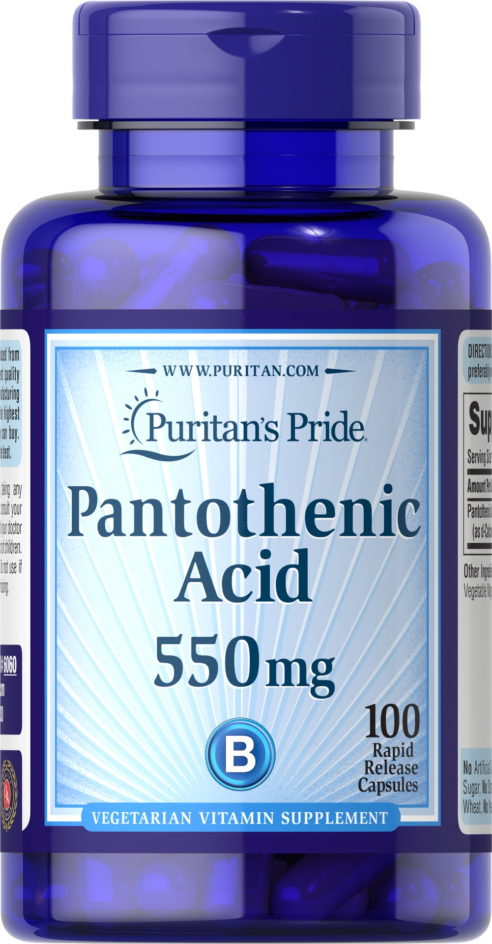 Pantothenic Acid 500 mg Timed Release <p>Pantothenic Acid is needed for normal functioning of the gastrointestinal tract and is required by all of the cells in the body.**  It also helps convert fats, carbohydrates, and proteins into energy.**  Available in (100 mg) & (200 mg) tablets.  Also available in (500 mg) TIME RELEASE Tablets.</p> 100 Tablets 500 mg $11.29
