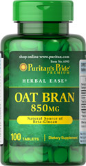 Oat Bran 850 mg <p>Some people just don't like the flavor of Oat Bran and others find many of the Oat Bran foods on the market very expensive.  Our Oat Bran tablets are a convenient, inexpensive way to add a healthy food to your diet!  Available in (850 mg) Tablets.</p> 100 Tablets 850 mg $5.99