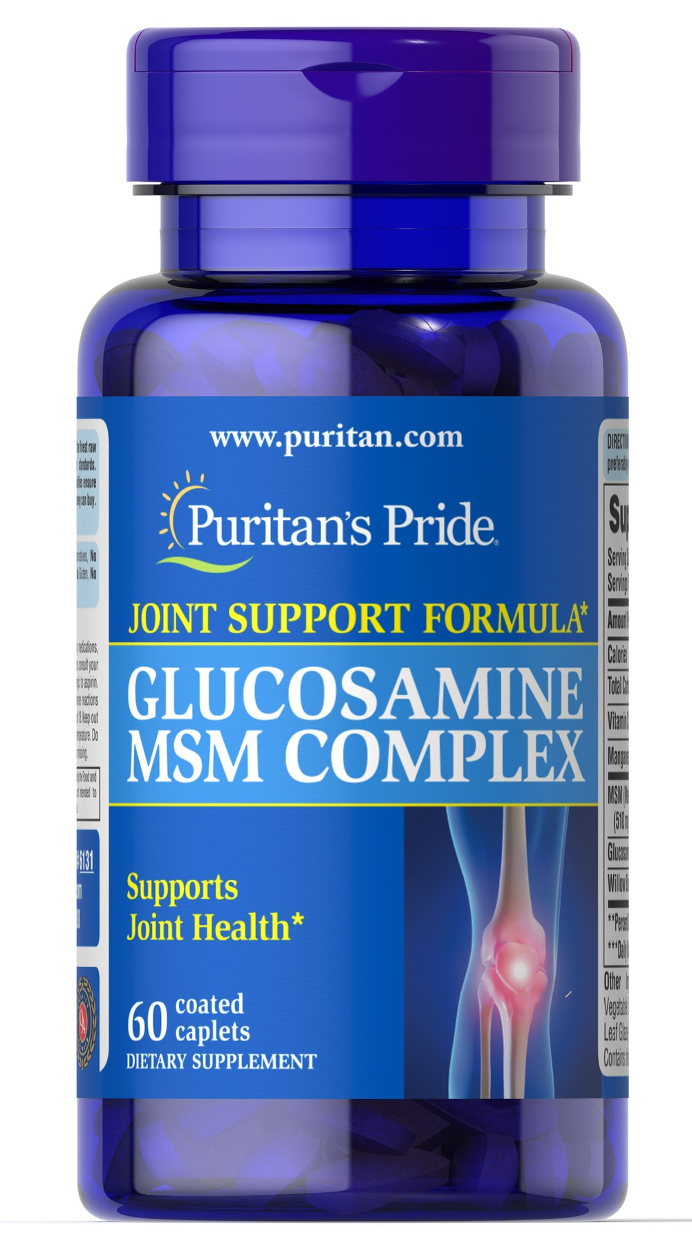 Glucosamine MSM Complex 500mg/333 mg <p>Two key ingredients in one tablet? Our Glucosamine MSM Complex is an excellent choice for anyone seeking a well-rounded formula containing two distinct joint support ingredients. Three tablets provide Glucosamine Sulfate (1500 mg), MSM (1000 mg), Ginger (100 mg), Vitamin C (60 mg), Manganese (5 mg) and White Willow (100 mg).</p>  <p>WARNING: Do not consume product if you have an allergy to shellfish.</p> 60 Caplets 500 mg/333 mg $9.