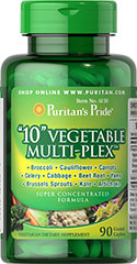 """10"" Vegetable Multi-Plex™ <p>Each tablet provides (500 mg.) freeze dried concentrates of the following vegetables: Broccoli, Celery, Cauliflower, Cabbage, Brussels Sprouts, Yams, Carrots, Kale, Beet Root and Artichoke.</p><p>Contains concentrates of cruciferous vegetables, which are natural sources of indole-3-carbinol.</p><p></p> 90 Caplets 500 mg"