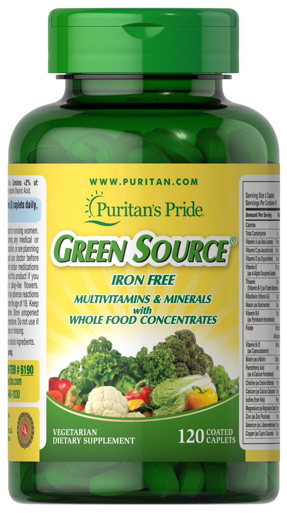 Green Source® Iron Free Multivitamin & Minerals <p>This concentrated formula is Iron Free and contains potent food source nutrients to provide essential vitamins, minerals, enzymes and amino acids. It also provides all the naturally occurring active constituents of whole foods. </p> 120 Caplets  $34.99