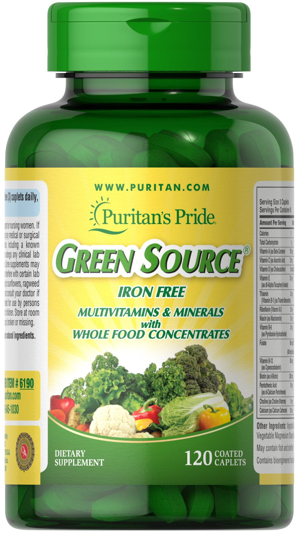 Green Source® Iron Free Multivitamin & Minerals <p>This concentrated formula is Iron Free and contains potent food source nutrients to provide essential vitamins, minerals, enzymes and amino acids. It also provides all the naturally occurring active constituents of whole foods. </p> 120 Caplets  $35.99