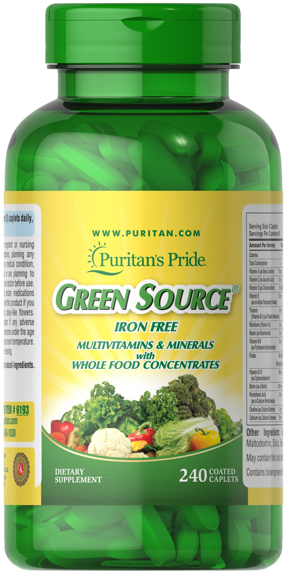 Green Source® Iron Free Multivitamin & Minerals <p>This concentrated formula is Iron Free and contains potent food source nutrients to provide essential vitamins, minerals, enzymes and amino acids. It also provides all the naturally occurring active constituents of whole foods. </p> 240 Caplets  $59.99