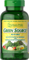 Green Source® Iron Free Multivitamin & Minerals <p>This concentrated formula is Iron Free and contains potent food source nutrients to provide essential vitamins, minerals, enzymes and amino acids. It also provides all the naturally occurring active constituents of whole foods. </p> 240 Caplets  $53.99