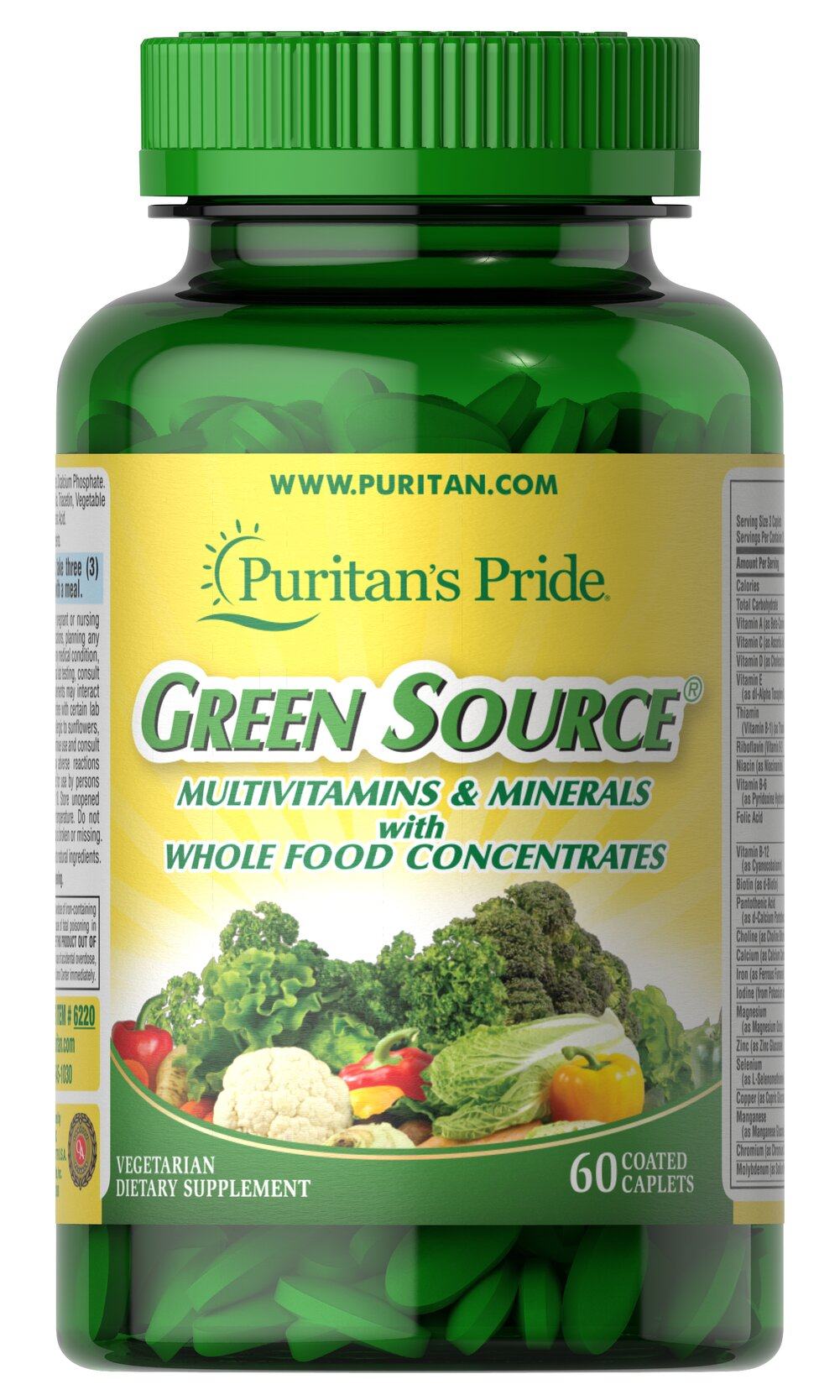 Green Source® Multivitamin & Minerals <p>This concentrated formula contains potent food source nutrients to provide essential vitamins, minerals, enzymes and amino acids. It also provides all the naturally occurring active constituents of whole foods.</p> 60 Caplets  $16.99